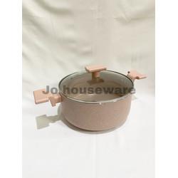 Panci saucepot marble lis anti lengket diameter 24 cm premium pink