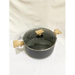 Panci saucepot marble lis anti lengket diameter 26 cm premium grey