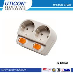 Uticon S-128SW (B) Stop Kontak Arde 2 Lubang