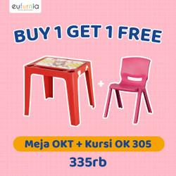 Paket 1 Meja + 1 Kursi Anak Plastik/ Olymplast/ 1 OKT + 1 OK305