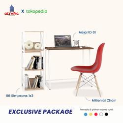 Olympic Exclusive Package - Meja Belajar & Kursi + Rak Serbaguna