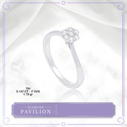 Cincin Emas Batu Berlian Felora White Gold Diamond Pavilion