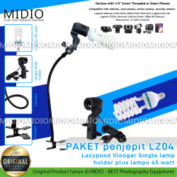 PAKET Midio LZ04 Penjepit Lazypod Lighting Vloger LampPlus Lampu 45 W