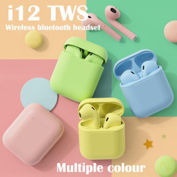 i12 Earphones Bluetooth 5.0 Earphone Matte Macaron Earbuds TWS Wireles