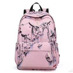 London Berry by HUER Ancy Printed Nylon Backpack 9534-024Pink