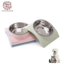 VS - Mangkuk Tempat Makan Minum Anjing Kucing Bentuk Atap Rumah