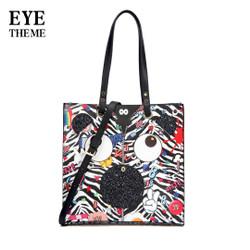 HUER Ficyha Eye Theme Printed Zebra Tote Bag 9454-120Black