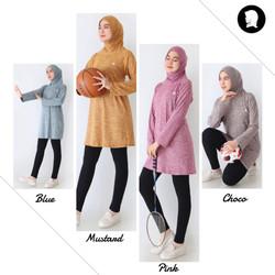 Tunik Hijab Set Olahraga Baju Senam Tennis Bersepeda Yoga