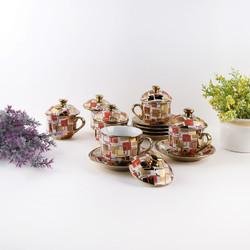 CAPODIMONTE Cangkir Set Keramik Golden Square