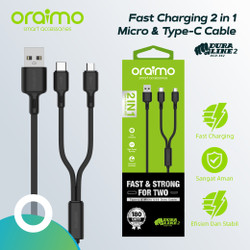 Oraimo Kabel Data 2in1 Fast Charging Micro USB & Type-C Cable OCD-E62