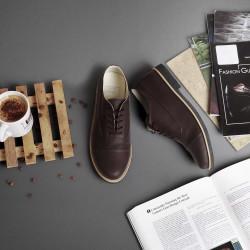 Sepatu Formal Pantofel Tali Pria Germa Brown