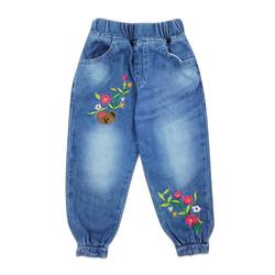 Wakakids Celana Jeans Jogger Bayi Anak Perempuan Bear Flowers 019