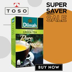 TEH DILMAH PURE GREEN TEA NO ENVELOPE 20 DILMAH TEA TAG TBAG TEH CELUP