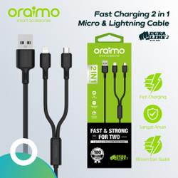 Oraimo Kabel Data 2in1 Fast Charging Micro USB dan Lightning OCD-D62