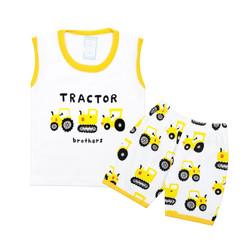 Wakakids Setelan Baju Singlet Bayi Anak Laki Laki Motif Tractor 3728 - Kuning