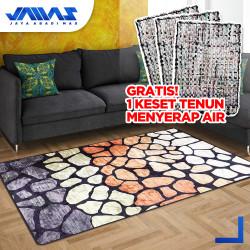 Karpet Velvet Kamaya Abstrak 160 X 210 Alas Anti Slip Efek 3-DIMENSI