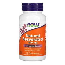 Vitamin Suplemen Natural Resveratrol Now 200 mg 60 Vcaps