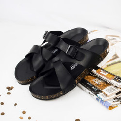 Sandal Slide Pria Gray Black