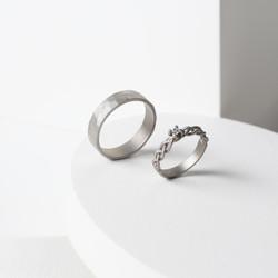 White doff braided and hammered wedding ring