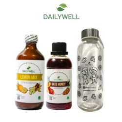 Bundling Dailywell Lemon Mix dan Date Honey + Tumbler Bening Dailywell