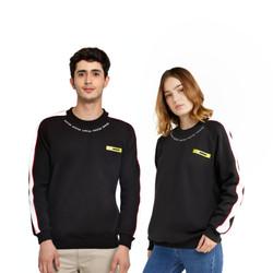 HIPSTER Couple Pasangan Sweater Premium Black Stripe Cewek Cowok
