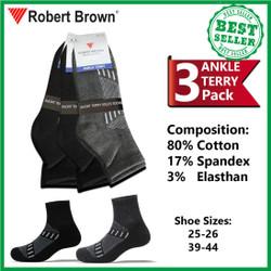 Kaos Kaki Robert Brown Pria Ankle Semata Kaki Katun 3 Pack 7520