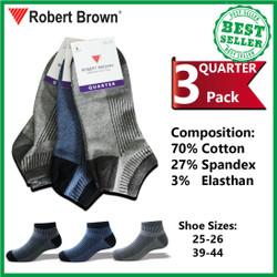 Kaos Kaki Pendek Robert Brown Pria Semata Kaki Quarter 3 Pack 8558