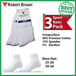 Kaos Kaki Sport Pria Robert Brown Katun Tebal 3 Pack 4237 White