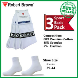 Kaos Kaki Sport Pria Robert Brown Katun Tebal 3 Pack 4240 White