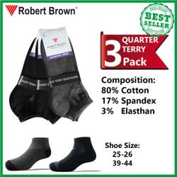 Kaos Kaki Pria Pendek Quarter Katun Robert Brown 3 pack 7559