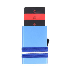 C-Secure Aluminium RFID Cardholder With Money Band Blue Dompet Kartu