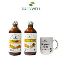 Bundling Dailywell Lemon Mix dan Turmerix + Mug Keramik Dailywell