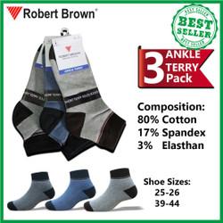 Kaos Kaki Robert Brown Pria Ankle Semata Kaki Katun 3 Pack 7523