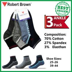 Kaos Kaki Robert Brown Pendek Pria Semata Kaki Katun 3 Pack 8573