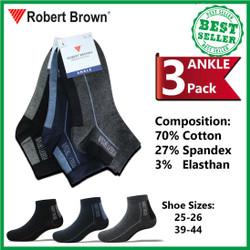 Kaos Kaki Robert Brown Pendek Pria Semata Kaki Katun 3 Pack 8582