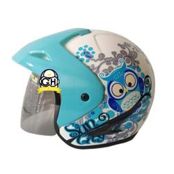 HELM BMC SUNCITY R OWL WHITE BLUE HALF FACE