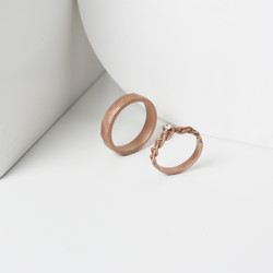 Rosegold doff braided and hammered ring