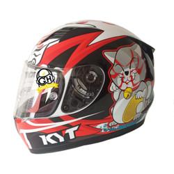 HELM KYT R10 KABUKI CAT WHITE RED KYT R-10 FLAT & PINLOCK READY KABUKI