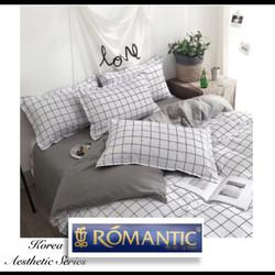 AESTHETIC KOREA Bedcover Serpay by ROMANTIC motif kotak putih katun