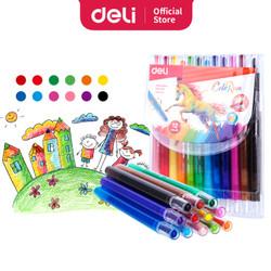 Deli Twistable Crayon 12Colors/Krayon Putar 12Warna Anti Kotor EC20403