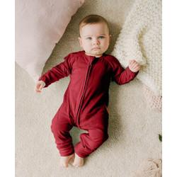Takoyakids Essentials Azuki Zipper Sleepsuits Maroon