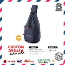 Custom Tas Selempang Sling bag Design Logo Brand Sendiri Bebas Custom