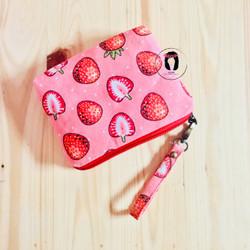 Pink Strawberry Linen Canvas Medium Pouch Dompet Pouch Kanvas Linen