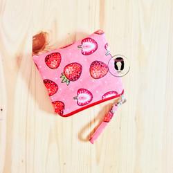 Pink Strawberry Linen Canvas Mini Coin Purse Dompet Koin Linen Kanvas