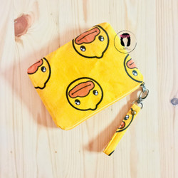 Yellow Ducksy Linen Canvas Medium Pouch Dompet Kanvas Linen
