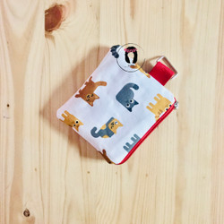 Handmade Kitty Cats Mini Canvas Coin Purse Canvas Pouch Dompet Koin