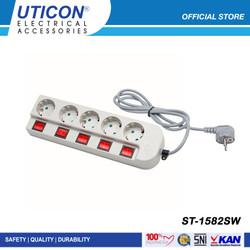UTICON Stop Kontak 5 Lubang 1.5 Meter Arde ST - 1582SW / Original