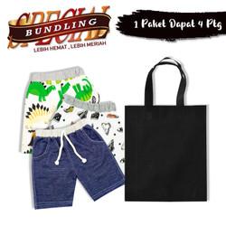 Wakakids Paket Hemat Celana Pendek Bayi Anak Laki dan Tas Belanja AB09
