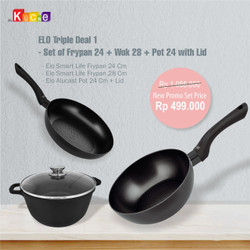 ELO Triple Deal 1 - Set of Frypan 24 + Wok 28 + Pot 24 with Lid