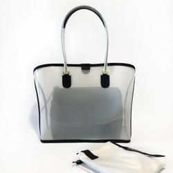 Dapoza Visi Bag Latte Nylon Leather Tote Transparan / Tas kulit wanita